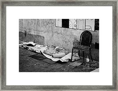 sleeping rough on the streets of Santiago Chile Framed Print by Joe Fox