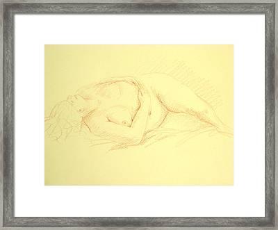 Sleeping Woman Framed Print by Deborah Dendler