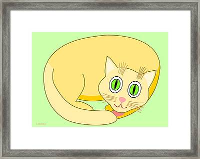 Sleeping Yellow Cat Framed Print