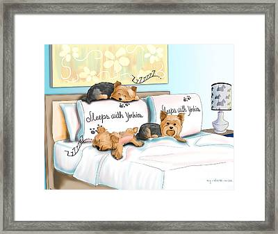 Sleeps With Yorkies Framed Print