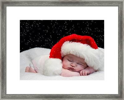 Sleepy Santa Baby Framed Print