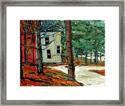 Sleet And Rain At The Mock Place Framed Print by Charlie Spear