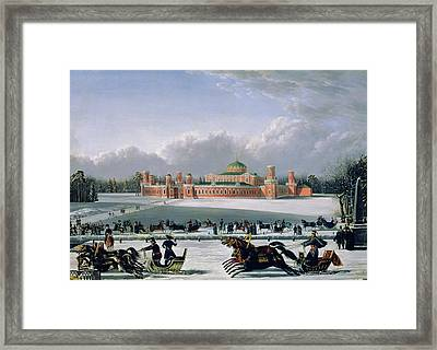 Sleigh Race At The Petrovsky Park In Moscow Framed Print by Golitsyn