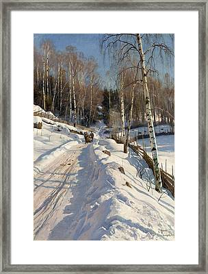 Sleigh Ride On A Sunny Winter Day Framed Print by Peder Mork Monsted