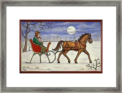 Sleigh Ride With Grandpa Framed Print