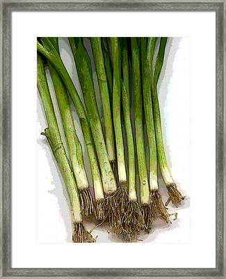 Slew Of Scallions Framed Print