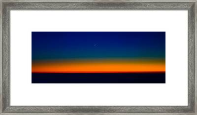 Framed Print featuring the photograph Slice Of Moon In The Night Sky by Don Schwartz