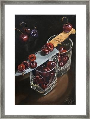 Sliced Black Cherries Framed Print