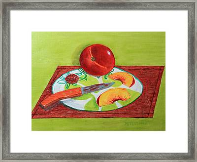 Sliced Peach Framed Print