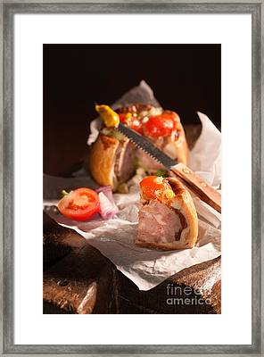 Sliced Pork Pie Framed Print by Amanda Elwell