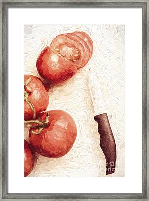 Sliced Tomatoes. Vintage Cooking Artwork Framed Print by Jorgo Photography - Wall Art Gallery