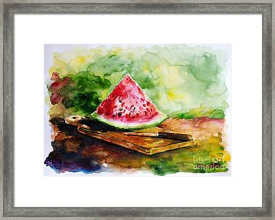 Sliced Watermelon Framed Print by Zaira Dzhaubaeva