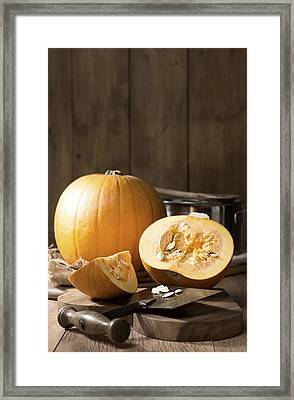 Slicing Pumpkins Framed Print
