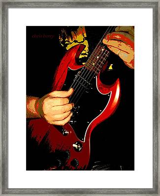 Red Gibson Guitar Framed Print by Chris Berry