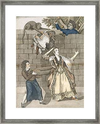 Slight Of Hand By A Monkey Or The Ladys Framed Print by English School