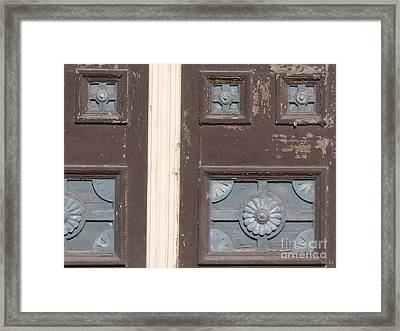 Slightly Imperfect Double Doors. 19th Century Wood Carving Framed Print by Connie Fox