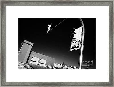 slimmon road fire station and fire engine stop sign Saskatoon Saskatchewan Canada Framed Print by Joe Fox