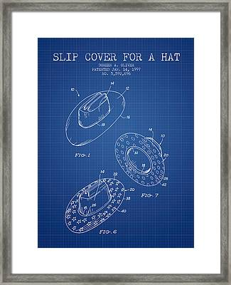 Slip Cover For A A Hat Patent From 1997 - Blueprint Framed Print