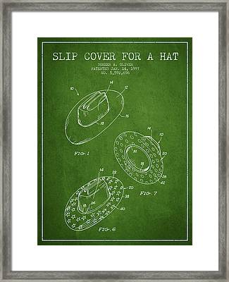 Slip Cover For A A Hat Patent From 1997 - Green Framed Print