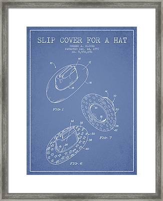 Slip Cover For A A Hat Patent From 1997 - Light Blue Framed Print