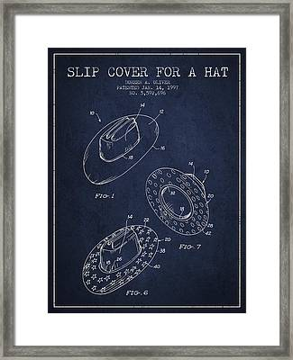 Slip Cover For A A Hat Patent From 1997 - Navy Blue Framed Print