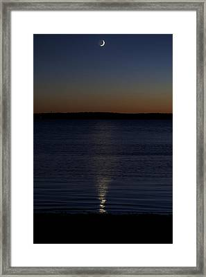 Sliver - A Crescent Moon On The Lake Framed Print by Jane Eleanor Nicholas