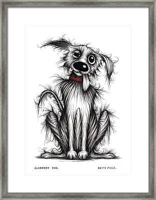 Slobbery Dog Framed Print by Keith Mills
