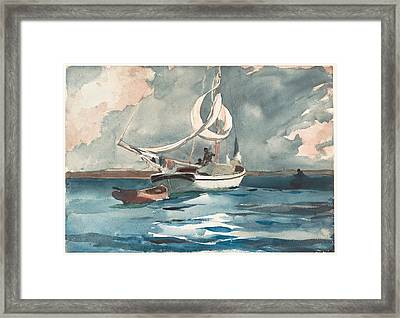 Sloop  Nassau Bahamas Framed Print by Winslow Homer