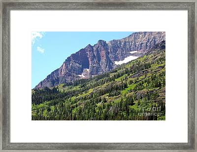 Sloping Mountain At Two Medicine Lake Framed Print by Carol Groenen