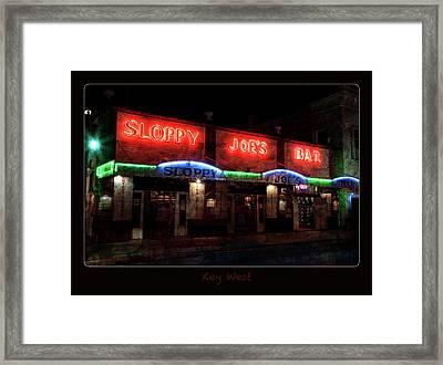 Sloppy Joes Bar After Dark Key West Framed Print by John Stephens