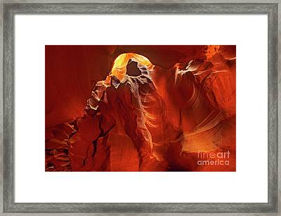 Framed Print featuring the photograph Slot Canyon Formations In Upper Antelope Canyon Arizona by Dave Welling