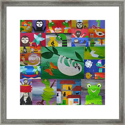 Sloth And More Friends- Recycled Paper Framed Print by Cathy Jacobs