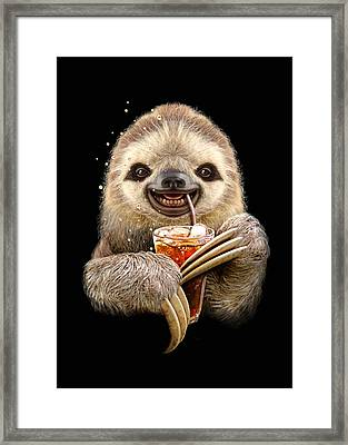 Sloth And Soft Drink Framed Print by Adam Lawless