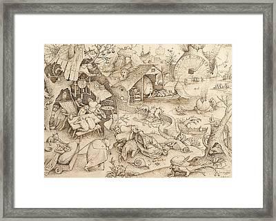 Sloth Pieter Bruegel Drawing Framed Print