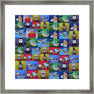 Sloths In Action Framed Print by Cathy Jacobs
