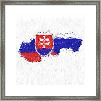 Slovakia Painted Flag Map Framed Print by Antony McAulay