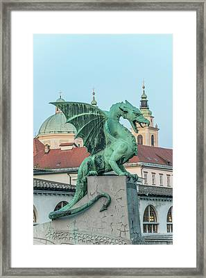 Slovenia, Ljubljana, Dragon Bridge Framed Print by Rob Tilley