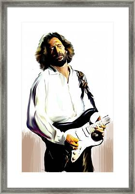 Slow Hand  Eric Clapton Framed Print by Iconic Images Art Gallery David Pucciarelli