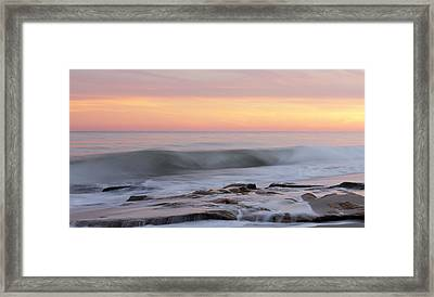 Slow Motion Wave At Colorful Sunset Framed Print