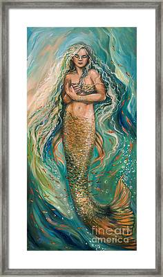 Slumbering Mermaid Framed Print by Linda Olsen