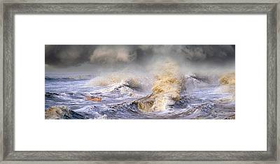 Small Boat In Storm Framed Print