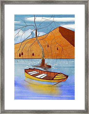 Small Boat On Lake Water Framed Print