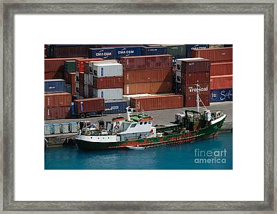 Small Boat With Cargo Containers Framed Print