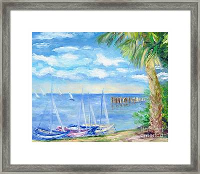 Small Boats On Water Framed Print