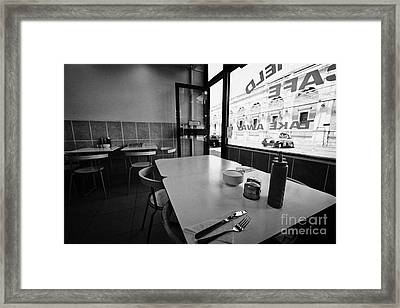 Small Cafe Tables And Window At Smithfield Market London England Uk Framed Print