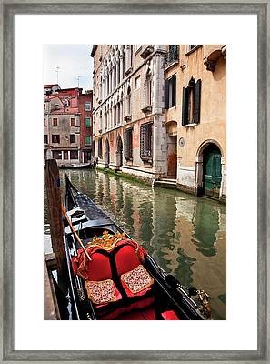 Small Canal Bridge Buildings Gondola Framed Print