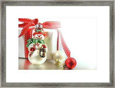Small Christmas Ornament With Gift Framed Print by Sandra Cunningham