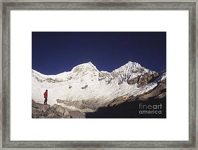 Small Climber Big Peaks Framed Print by James Brunker