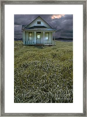 Small Cottage In Storm Framed Print by Jill Battaglia