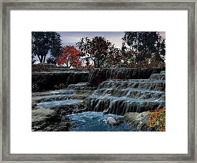 Small Falls At Sunset Framed Print by John Pangia